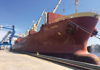 The MV UBC Saiki loads with 20,000 tons of rough rice from the port of Lake Charles, La., for shipment to Mexico.