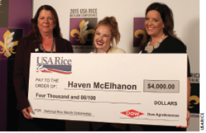 (From left to right) USA Rice CEO Betsy Ward, grand prize winner Haven McElhanon and Leslie Rodgers with Dow AgroSciences