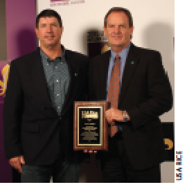 Rice producer Leo LeGrande, left, presented Ken Norton of the Natural Resources Conservation Service with the sixth annual Distinguished Conservation Achievement Award.