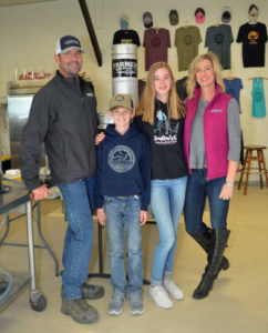 Bill Weller and family inside the small brewery